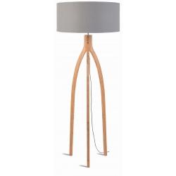 Lampa podłogowa ANNAPURNA bambus 3-nożna 128cm/abażur 60x30cm, lniany jasnoszary