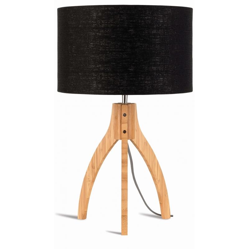 Lampa stołowa ANNAPURNA trójnożna 30cm/abażur 32x20cm, lniany czarny