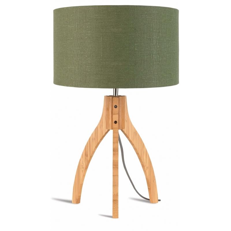 Lampa stołowa ANNAPURNA trójnożna 30cm/abażur 32x20cm,lniany zieleń lasu