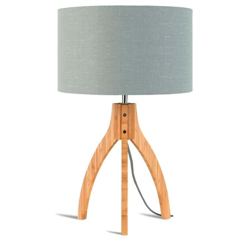 Lampa stołowa ANNAPURNA trójnożna 30cm/abażur 32x20cm, lniany jasnoszary