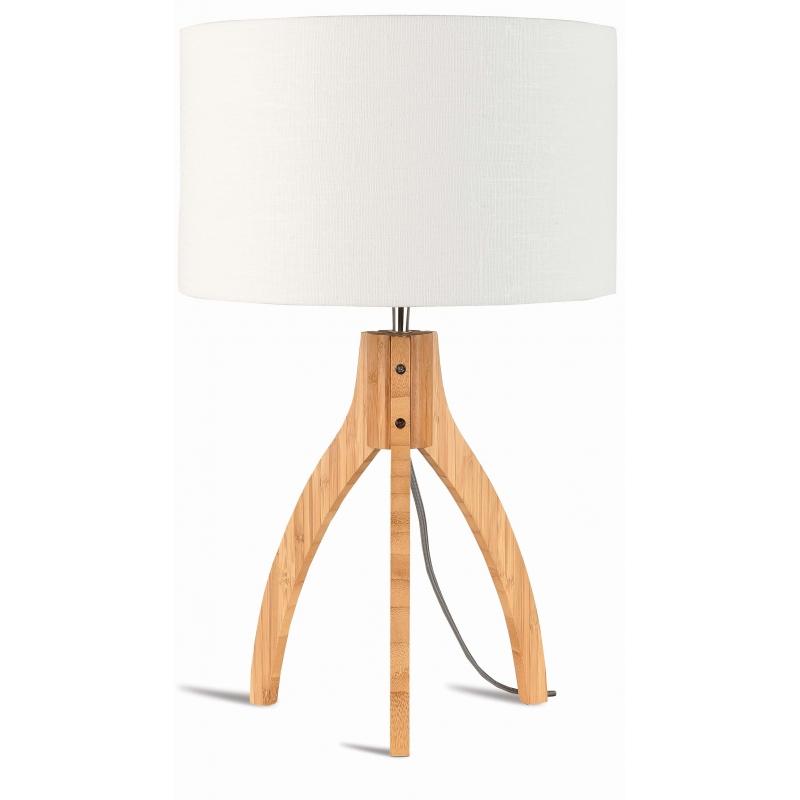 Lampa stołowa ANNAPURNA trójnożna 30cm/abażur 32x20cm, lniany biały