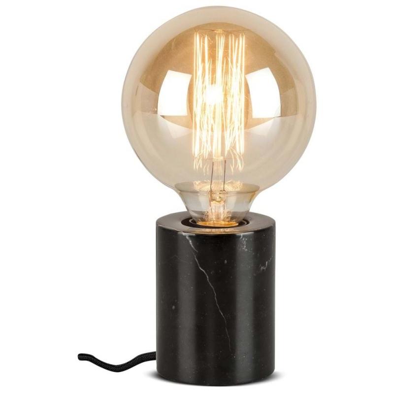 Lampa stołowa ATHENS, oprawka cylindrowa marmur/ 7,5x10cm, czarna