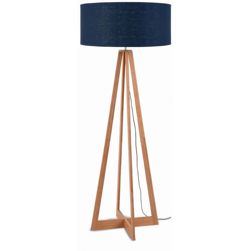 Lampa podłogowa EVEREST bambus 4-nożna 127cm/abażur 60x30cm, lniany blue denim