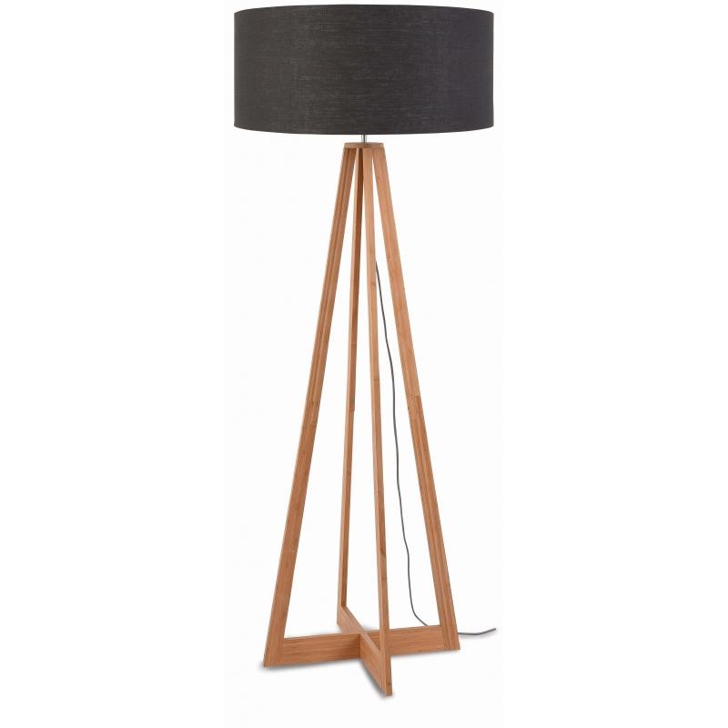 Lampa podłogowa EVEREST bambus 4-nożna 127cm/abażur 60x30cm, lniany ciemnoszary