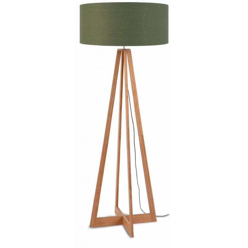 Lampa podłogowa EVEREST bambus 4-nożna 127cm/abażur 60x30cm, lniany zieleń lasu