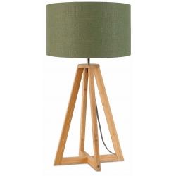 Lampa stołowa EVEREST 4-nożna 34cm/ abażur 32x20cm, lniany zieleń lasu