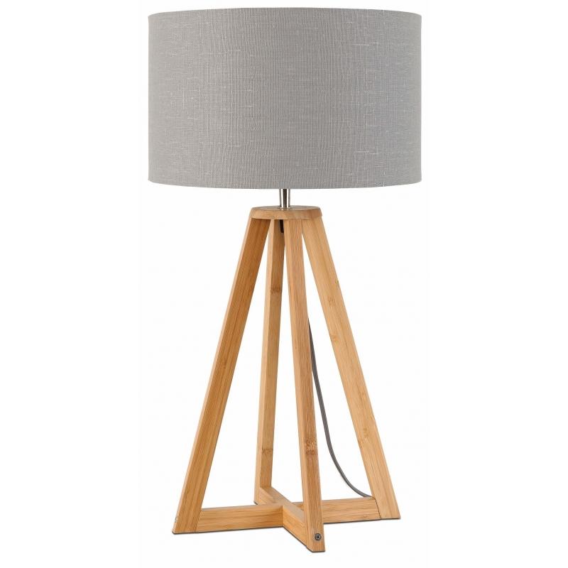Lampa stołowa EVEREST 4-nożna 34cm/ abażur 32x20cm, lniany jasnoszary