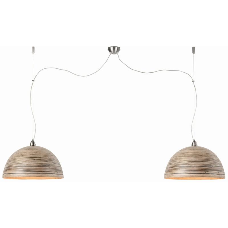 Lampa wisząca HALONG bambus 53x35cm/ 2-abażurowy system, ciemny naturalny
