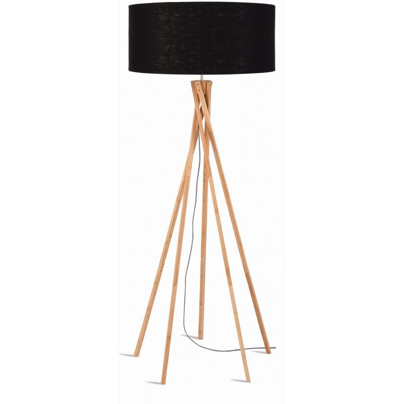 Lampa podłogowa KILIMANJARO bambus 129cm/ abażur 60x30cm, lniany czarny