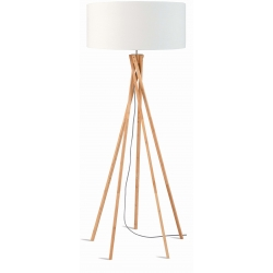 Lampa podłogowa KILIMANJARO bambus 129cm/ abażur 60x30cm, lniany biały