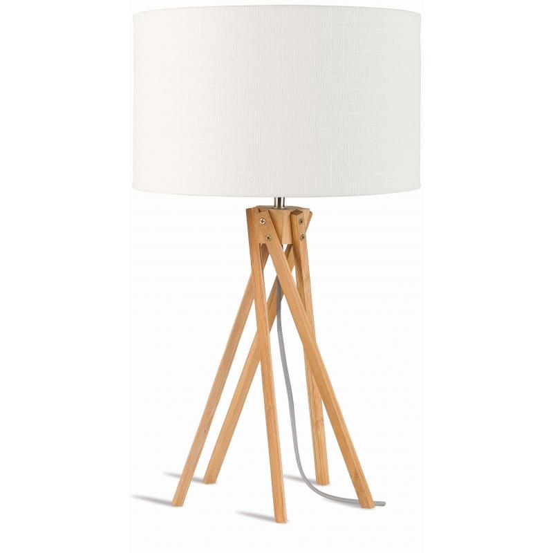 Lampa stołowa KILIMANJARO 5-nożna 34cm/ abażur 32x20cm, lniany biały