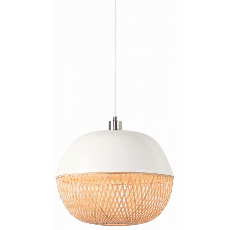 Lampa wisząca MEKONG bambus 40x32cm/ abażur okrągły, biały/naturalny
