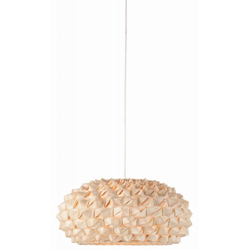 Lampa wisząca SAGANO bambus 50x25cm, abażur spłaszony, naturalny