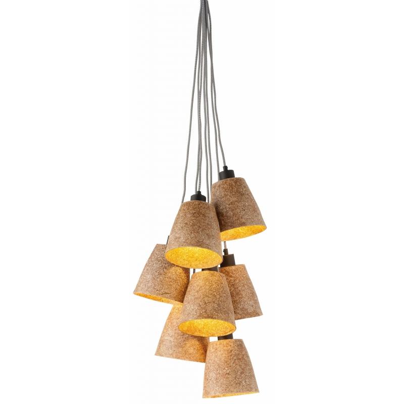Lampa wisząca SEQUOIA z drewna sekwoi/ 7-abażurowa 17x16cm, naturalny