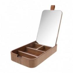 Drewniane pudełko z lusterkiem
