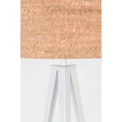 Lampa podłogowa TRIPOD CORK biała, abażur korkowy