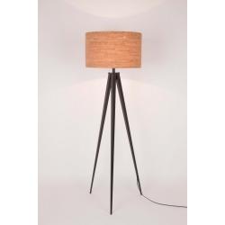 Lampa podłogowa TRIPOD CORK czarna, abażur korkowy
