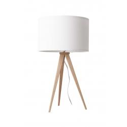 Lampa stołowa TRIPOD biała drewniana