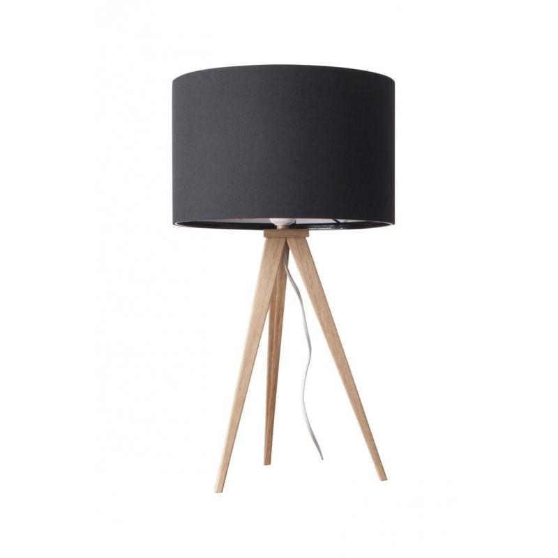 Lampa stołowa TRIPOD czarna drewniana