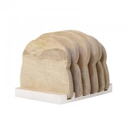 Talerze drewniane + stojak