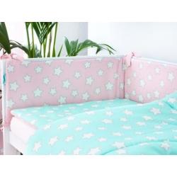 Ochraniacz do łóżeczka Pink and Mint Stars